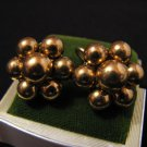 Vintage Gold Tone Beaded Ball Cluster Flower Screwback Earrings