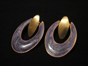 Vintage Gold Tone and Purple Glitter Enameled Hoop Pierced Earrings