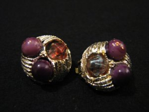 Vintage Gold Tone and Red Glitter Beaded Round Clip Earrings