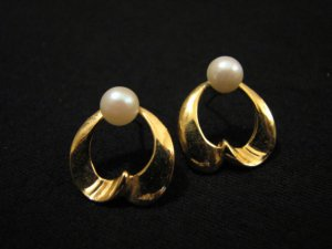 Vintage Gold Tone and White Faux Pearl Swirled Heart Pierced Earrings