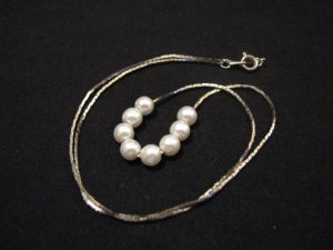 Vintage Silver Tone 8 White Faux Pearl Beaded Necklace