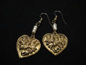 Vintage Gold Tone and White Faux Pearl Beaded Filigree Heart Pierced Earrings