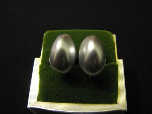 Vintage Silvery Blue Faux Pearl Clip Earrings
