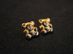Vintage Gold Tone Teddy Bear Stud Post Pierced Earrings