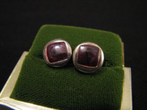 Vintage Silver Tone and Purple Enameled Round Stud Post Pierced Earrings
