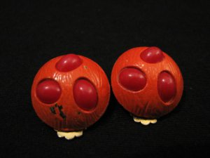 Vintage Orange and Red Beaded Puffy Round Painted Clip Earrings