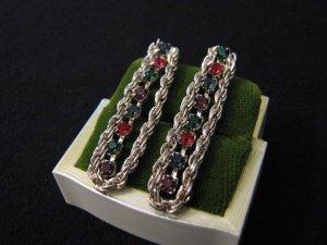 Vintage Silver Tone and Rainbow Diamond Rhinestone Chain Pierced Earrings