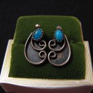 Vintage Southwestern Sterling Silver and Blue Turquoise Feather Leaf Pierced Earrings