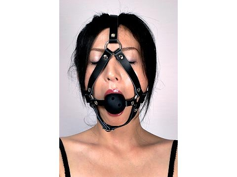 Black Leather Harness Open Mouth Ball Gag Ballgag