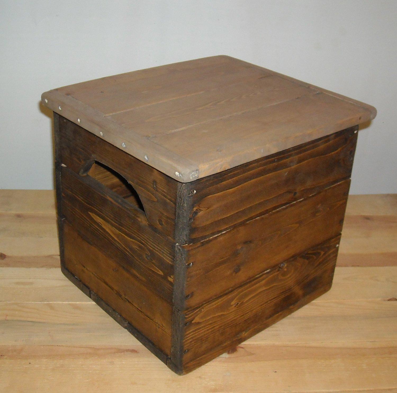 Primitive wood storage box small chest
