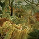 Tiger in a Tropical Storm Surprised Henri Rousseau Poster 20X30 Art Print