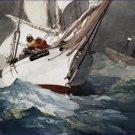 Diamond Shoal Reefing Sails in Greens Winslow Homer Poster 20X30 Art Print