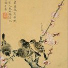 Plum Blossoms and Sparrows Zhou Xianji Poster 20X30 Art Print