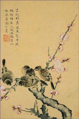 Plum Blossoms and Sparrows Zhou Xianji Poster 20X30 Art Print