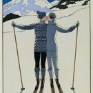 16X20 Art Deco Poster Lovers in the Snow