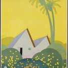 20X30 Art Deco Travel Poster Valencia Jardin de Espana