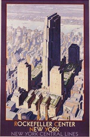 20X30 Art Deco Poster Rockefeller Center New York Central Lines