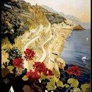 20X30 Art Deco Travel Poster Amalfi Coast