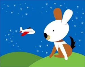 Poster Baby Toddler Large Rabbit Watching Small Airplane 16X20 Art Print
