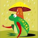 Poster Baby Toddler Frog Under Natures Umbrella 16X20 Art Print