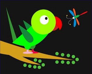 Poster Baby Toddler Parrot and Dragonfly 16X20 Art Print
