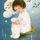 Poster Baby Toddler Girl Sitting on Mushroom 20X30 Art Print