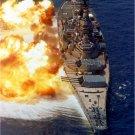 USS IOWA BB 61 Photo Print firing its Mark 7 16 inch guns Photograph 8X10