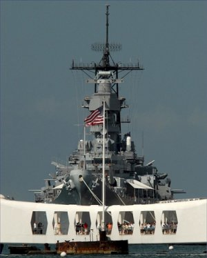 USS MISSOURI BB 63 Overlooks USS ARIZONA Memorial Photograph 8X10
