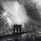 Black and White Photo 8X10 Fireworks over the Brooklyn Bridge