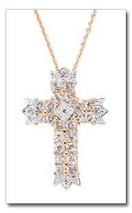 White Topaz And Diamond Cross Pendant