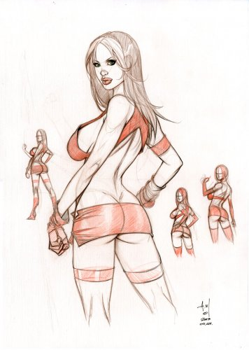 """12x17 ROGUE """"FIGHTER GIRL"""" ORIGINAL ART STUDY"""