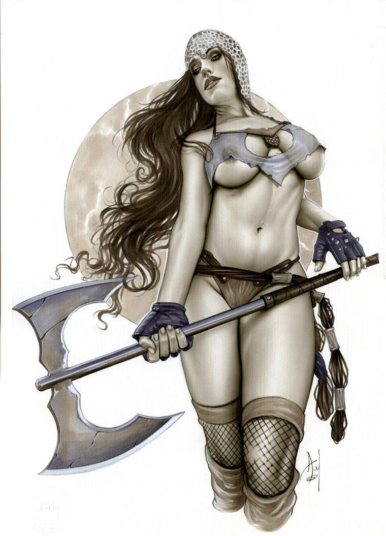 TITANIA SEXY WARRIOR BW#806 - FANTASY ORIGINAL PINUP GIRL
