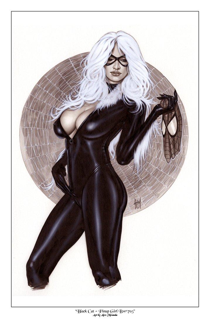 Alex Miranda -Black Cat Bw#705 - Sexy Pinup Girl Print
