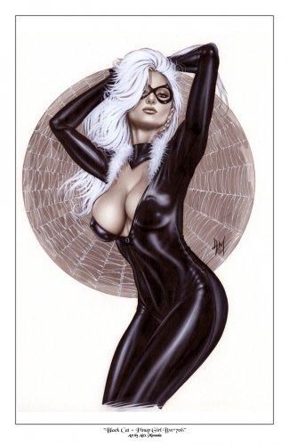 Alex Miranda -Black Cat Bw#706 - Sexy Pinup Girl Print