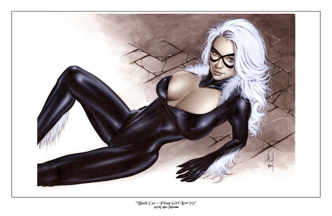 Alex Miranda -Black Cat Bw#717 - Sexy Pinup Girl Print