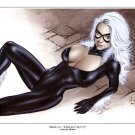 Alex Miranda -Black Cat Bw#717 - Sexy Pinup Girl Print