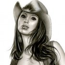SHAY LAREN COWGIRL - ORIGINAL PINUP GIRL ART by ALEX MIRANDA
