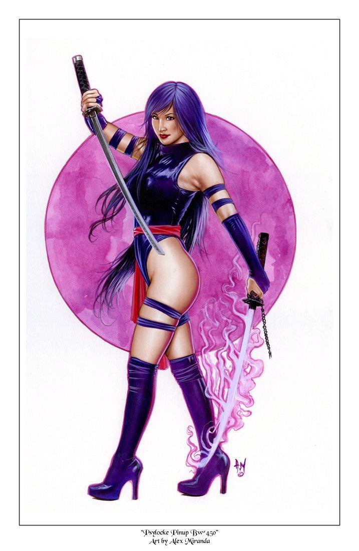Psylocke Bw#450 - X-Men Fantasy Pinup Girl Print