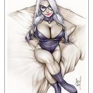 Black Cat Bw#569 - Fantasy Pinup Girl Print