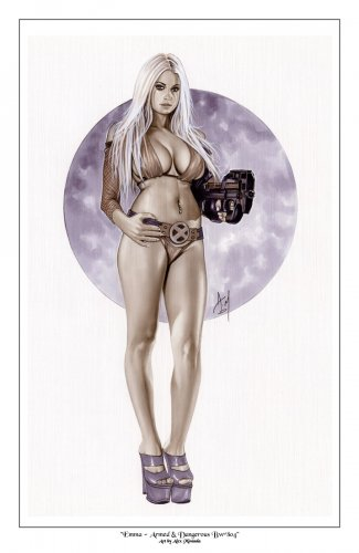 Emma Frost - Armed and Dangerous  Bw#804 - Fantasy Pinup Girl Print
