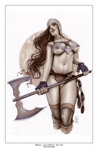 Hot Titania  Bw#806 - Sexy Warrior Fantasy Pinup Girl Print