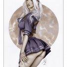 Babydoll Sucker Punch Bw#944 - Fantasy Pinup Girl Print