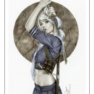 Babydoll Sucker Punch Bw#737 - Fantasy Pinup Girl Print by Alex Miranda