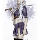 Babydoll Sucker Punch Bw#786 - Fantasy Pinup Girl Print by Alex Miranda