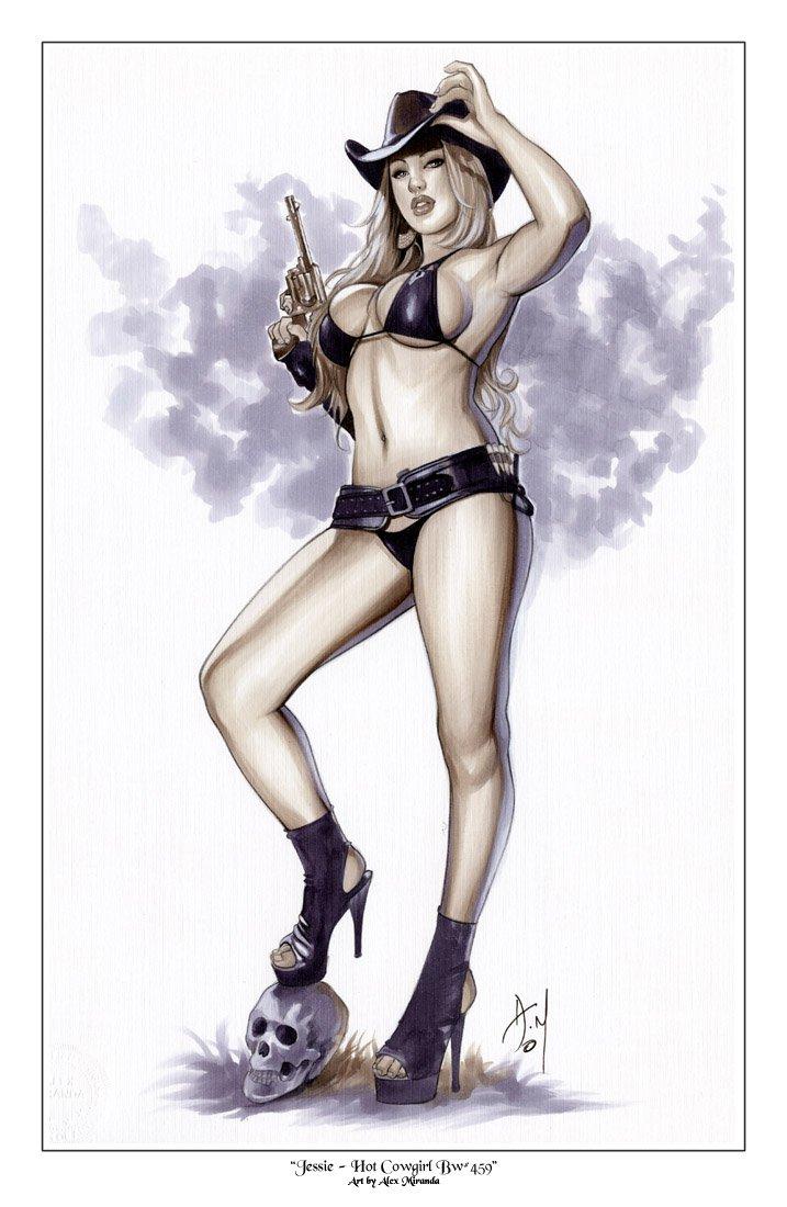 Hot Jessie Cowgirl  Bw#459 - Fantasy Pinup Girl Print