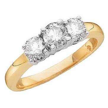 Briolite Three Stone Ring in 14k Yellow Gold