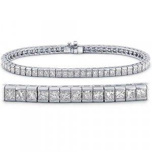 Briolite Princess Cut Tennis Bracelet in Sterling Silver