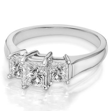 Briolite Princess Cut Three Stone Ring