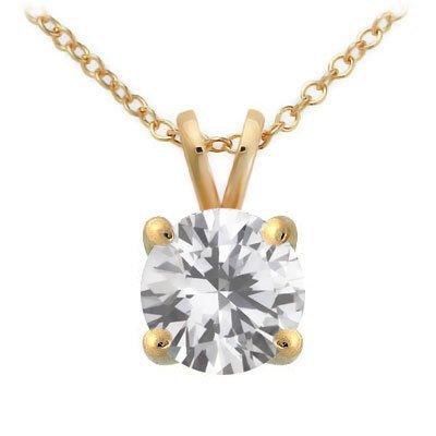 Briolite Solitaire Pendant in 14k Gold