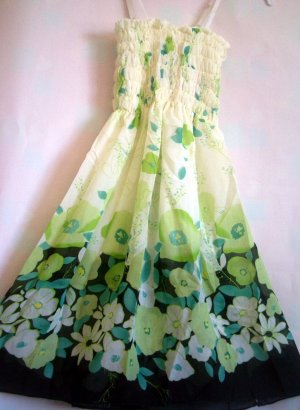 Floral GREEN tube dress